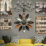 E-HOME®  Brown Flower Shape Metal Wall Clock One Pcs