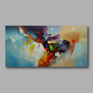 "Ready to hang Stretched Hand-Painted Oil Painting Canvas  40""x20"" Wall Art Abstract Orange Yellow Light Blue"