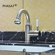 PHASAT® Deck Mounted Single Handle One Hole in Nickel Brushed Bathroom Sink Faucet