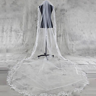 Wedding Veil One-tier Chapel Veils / Cathedral Veils Lace Applique Edge Tulle White / Ivory