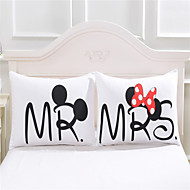 mickey mouse Heart Body Pillow Cover Cotton Home Textiles Valentine's Day Gift Pillowcase Bedclothes 2Pcs/Pair 50cmx75cm