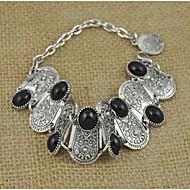 New Bohemia Vintage Tibetan Silver Plated Black Stone Bracelet Women Jewelry