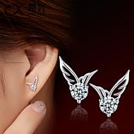 Boucles d'oreille goujon Mode Le style mignon Cristal Plaqué argent Ailes / Plume Argent Bijoux Pour Mariage Soirée Quotidien Décontracté