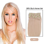 """20""""-24"""" Inches 8pcs clip in hair extensions human hair blonde"""