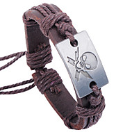 Men's Leather Weave Adjustable Bracelet with Skull