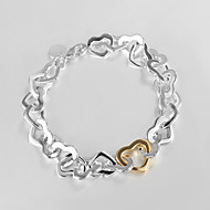 "Fashion 925 Silver Sterling ""Gold Heart""Chain & Link Bracelets For Woman&Lady Christmas Gifts"