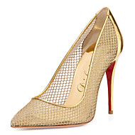 Women's Shoes Patent Leather / Tulle Stiletto Heel Heels / Pointed Toe Heels Wedding / Party & Evening / Dress Gold