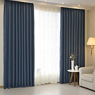 Two Panels Modern Solid Blue Brown Bedroom Linen Cotton Blend Panel Curtains Drapes
