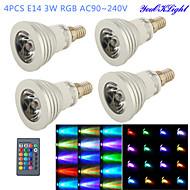 3W E14 תאורת ספוט לד G50 1 לד בכוח גבוה 260 lm RGB עובד עם שלט רחוק / דקורטיבי AC 100-240 V ארבעה חלקים