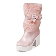 Women's Shoes Chunky Heel Heels / Round Toe / Closed Toe Boots Office & Career / Dress Pink / White / Beige