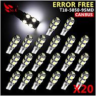 20x Шина CAN клин T10 белый 192 168 194 W5W 9 SMD 5050 привело света лампы накаливания ошибке бесплатный 12v
