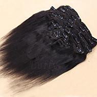"""10 """"-24"""" дюймовый виргинская бразильская человеческих волос шелковистой прямой зажим в волосах 100-120g шелковистой прямой клип в"""