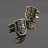 Fashion Copper Men Gift Jewelry Silver Black Enamel Shield Shirt Button Cufflinks(1Pair)