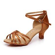 Non Customizable Women's Dance Shoes Latin / Salsa Satin / Flocking Cuban Heel
