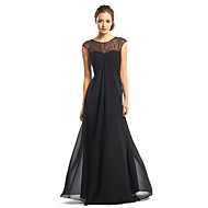 TS Couture® Formal Evening Dress - Black A-line Jewel Floor-length Chiffon
