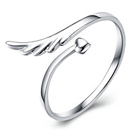 S925 Fine Silver Angle Wings Shape Open Ring for Wedding Party Fine Jewelry