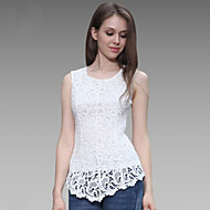 Women's Solid / Lace Blue / Pink / Red / Black / Green / Yellow / Purple Blouse , Crew Neck Sleeveless