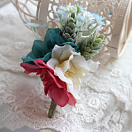 Wedding Flowers Bride Matching Free-form Roses Boutonnieres
