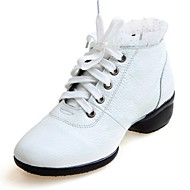 Non Customizable Women's Dance Shoes Leather Leather Dance Sneakers Heels Chunky Heel Practice / Professional / PerformanceBlack / White