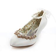 נעלי נשים - בלרינה\עקבים - משי - עקבים / מעוגל - שנהב - חתונה / שמלה / מסיבה וערב - עקב נמוך