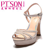 PT'SON Women's Leather Chunky Heel Sandals Pink