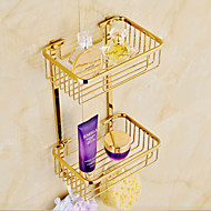 Gold Finish Bathroom Double-deck Brass Material Triangular Storage Basket