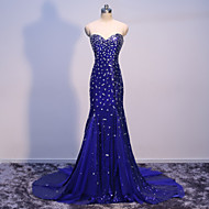 Formal Evening Dress Trumpet / Mermaid Sweetheart Sweep / Brush Train Tulle / Sequined with Crystal Detailing