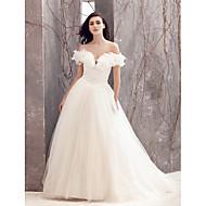 Lanting une ligne robe de mariée - balayage ivoire / train brosse hors-la-épaule en tulle