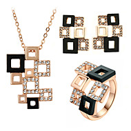 HKTC Special Hollowed Frame Design Magic Cube Pendant Necklace and Stud Earrings and Ring Set