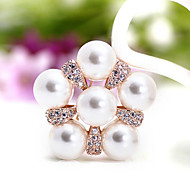 Three big pearl necklace brooch scarf buckle zircon