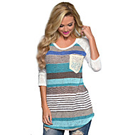 Women's Print / Striped Blue / Red T-shirt , Round Neck Long Sleeve