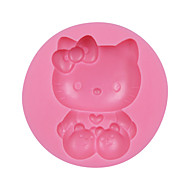 Cute Cat with Bow Silicone Fondant Baking Cake Chocolate Mold Decorating Tools Sugarcraft Mould Cat SM-039
