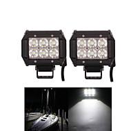 2PCS 4 inch 18W Cree Led Work Light for Car Motor Truck SUV ATV 4WD OffRoad Driving Flood LED Lamp Light Bar 12V 24V