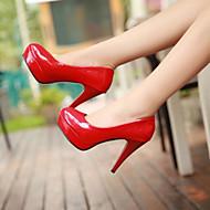 נשיםדמוי עור-נוחות-שחור אדום לבן Almond-שמלה יומיומי-עקב סטילטו