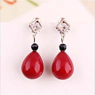 Micro gold inlaid CZ Red Pearl Earrings