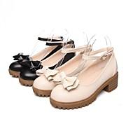 Women's Shoes Leatherette Low Heel Platform / Mary  Heels Office & Career / Dress / Casual Black / Beige