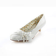 Women's Spring Summer Fall Silk Wedding Dress Party & Evening Low Heel Pearl Ribbon Tie Ivory