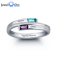 Personalized Noble Carving Word Ring Couple Stone 925 Sterling Silver Cubic Zirconia Ring For Women