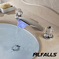 New Contemporary Brass Chrome Two Handles 3-Hole Led Flexible Change Waterfall Bath Basin Faucet