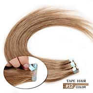 """8a populární lidský vlas pu pásky 16 """"-24"""" páska na prodlužování vlasů přímo hedvábná 20ks kůže útek vlasy"""