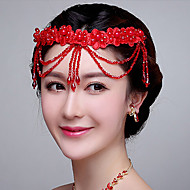 Red Wedding /Engagement/ Special Occasion Forehead Piece with Crystals