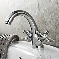 Traditional Centerset Two Handles One Hole in Ti-PVD Bathroom Sink Faucet