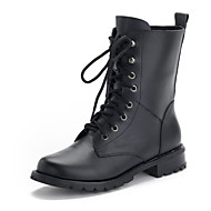 Women's Shoes Cowhide Flat Heel Combat Boots Boots Outdoor / Dress / Casual Black