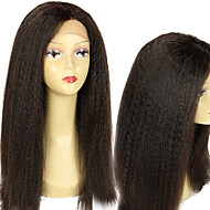 """Unprocessed 10""""-26"""" Peruvian Virgin Hair Natural Color Kinky Straight Full Lace Wig 150% Density Human Hair Wigs"""