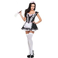 New!Black Polyester French Maid Costumes For Carnival,Halloween Costumes For Women