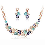 MISSING Women Cute / Party Rose Gold Plated / Alloy / Gemstone & Crystal Necklace / Earrings Jewelry Sets