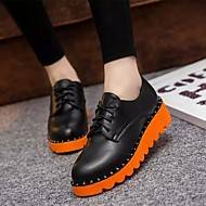 Women's Shoes Leatherette Platform Mary  Oxfords Outdoor / Casual Black / Beige