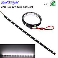 YouOKLight®  2Pcs 5W 12V 30cm LED DRL 100% Waterproof 5050 SMD Car Auto Decorative Flexible LED Strip Fog lamp