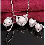 Heart full diamond pearl set
