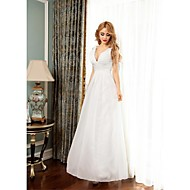 Formal Evening Dress Ball Gown V-neck Floor-length Chiffon with Appliques / Side Draping
